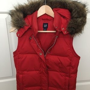 Red Gap Vest with Faux Fur Hood